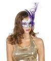 Oogmasker zilver met paarse veer