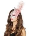 Luxe Venetiaans oogmasker zilver/ roze