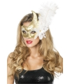 Luxe Venetiaans oogmasker goud/ wit