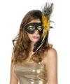 Venetiaans verkleed oogmasker zwart met pauwenveren